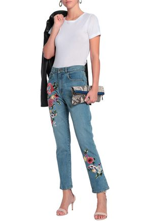 ALICE + OLIVIA Embroidered high-rise straight-leg jeans