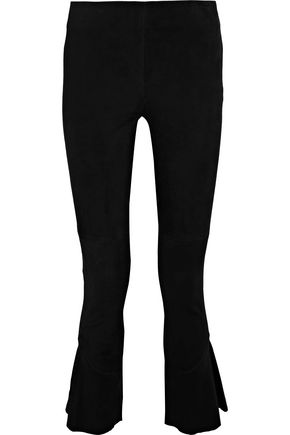 IRO Tavuso cropped ruffle-trimmed suede bootcut pants