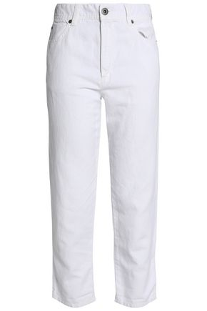 JAMES PERSE Cropped cotton and linen-blend slim-leg pants