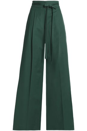 ROCHAS Belted cotton-blend wide-leg pants