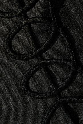 ELIE TAHARI Leena embroidered cotton-blend ponte straight-leg pants