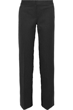 ELIE TAHARI Leena embroidered cotton-blend ponte straight-leg pants