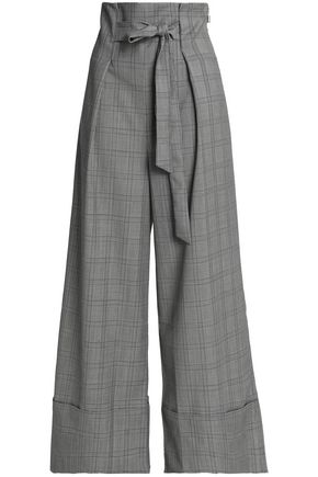 PAPER London Twin tie-front Prince of Wales checked wool-blend wide-leg pants