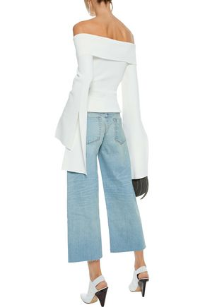 SIMON MILLER Cropped distressed low-rise wide-leg jeans