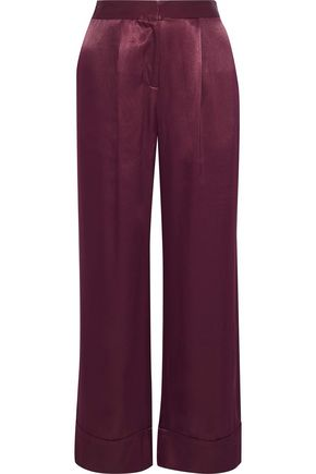 IRIS & INK Shannon cropped satin-twill wide-leg pants