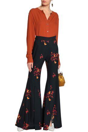 ELLERY Floral-print crepe flared pants
