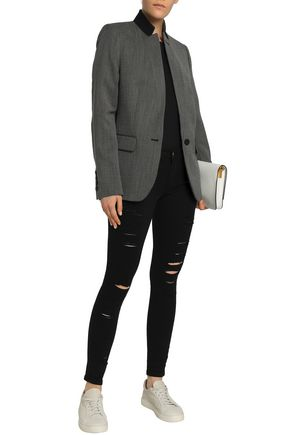 FRAME Distressed mid-rise skinny jeans