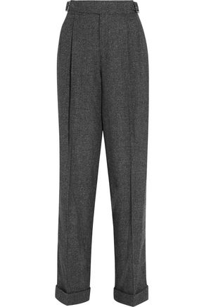 TOM FORD Prince of Wales wool, silk and cashmere-blend tapered pants