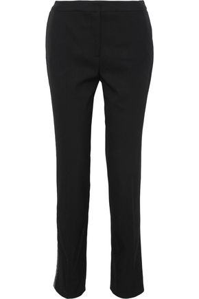 OSCAR DE LA RENTA Sequin-embellished stretch-wool twill slim-leg pants