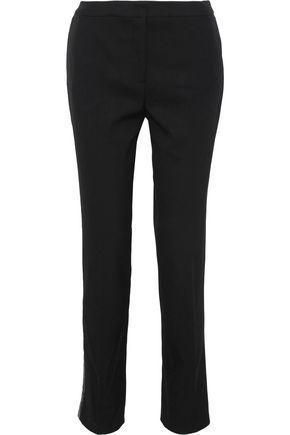 OSCAR DE LA RENTA Sequin-embellished twill slim-leg pants