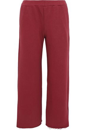 SIMON MILLER Canal cropped French cotton-terry wide-leg pants