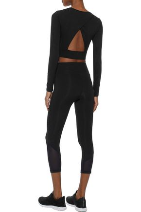 IRIS & INK Allyson cropped mesh-paneled stretch leggings
