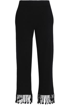 DUFFY Fringed brushed wool and cashmere-blend straight-leg pants