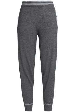 DUFFY Mélange wool and cashmere-blend track pants