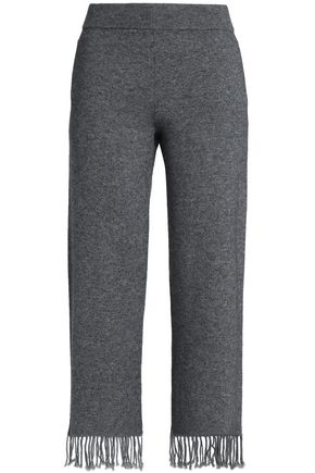 DUFFY Fringed mélange wool and cashmere-blend straight-leg pants