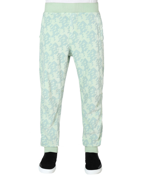STONE ISLAND SHADOW PROJECT PANTALONS 60509 LEISURE TROUSERS (PRINTED JERSINHO) PANAMA WEAVED COTTON CHENILLE ENPHATIZING PRINT - GARMENT DYED