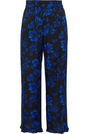 BAUM UND PFERDGARTEN Cropped floral-print stretch-silk twill wide-leg pants