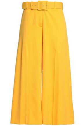 OSCAR DE LA RENTA Cropped belted wool-blend twill wide-leg pants