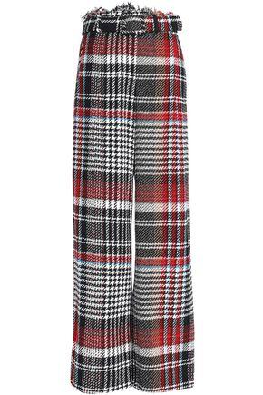 OSCAR DE LA RENTA Frayed checked cotton-tweed wide-leg pants