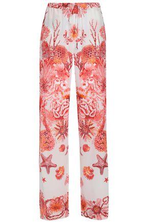 ROBERTO CAVALLI Printed silk crepe de chine wide-leg pants
