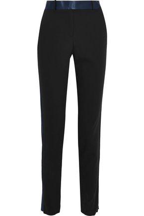 HALSTON HERITAGE Satin-trimmed twill slim-leg pants