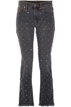 ISABEL MARANT Ulano crystal-embellished mid-rise slim-leg jeans