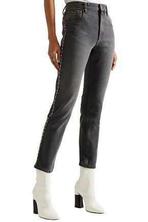 ISABEL MARANT Ulyff crystal-embellished high-rise slim-leg jeans