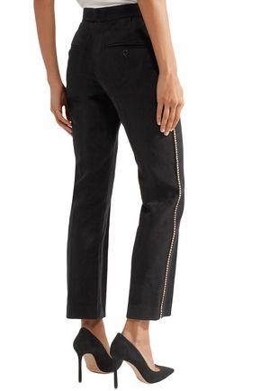 ISABEL MARANT Philea crystal-embellished felt slim-leg pants