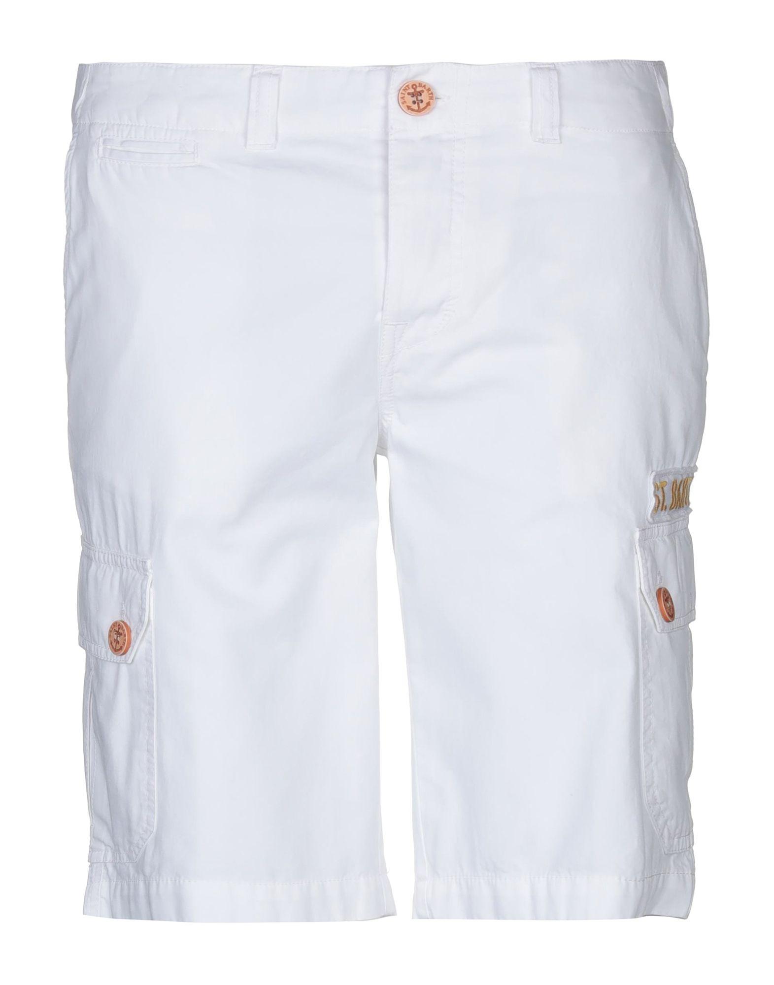 MC2 SAINT BARTH Bermudas. plain weave, logo, solid color, mid rise, button closing, multipockets, cargo. 100% Cotton