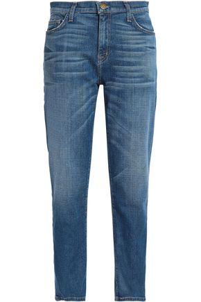 CURRENT/ELLIOTT Faded high-rise straight-leg jeans