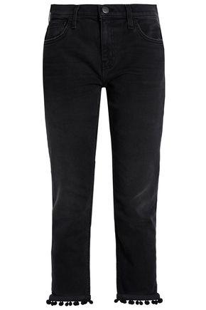 CURRENT/ELLIOTT Pompom-embellished mid-rise slim-leg jeans