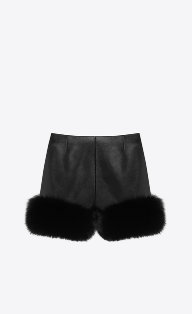 SAINT LAURENT Shorts Woman fox and lambskin shorts b_V4