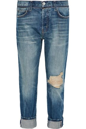 CURRENT/ELLIOTT The Selvedge Taper cropped distressed boyfriend jeans