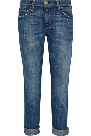 CURRENT/ELLIOTT The Fling embellished mid-rise straight-leg jeans