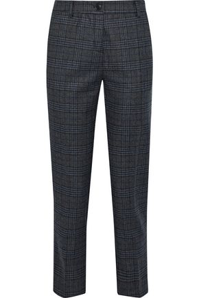 IRIS & INK Cindy cropped checked wool-blend slim-leg pants