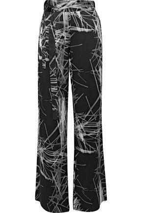 HALSTON HERITAGE Printed satin-crepe wide-leg pants