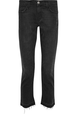 CURRENT/ELLIOTT The Cropped Straight distressed mid-rise straight-leg jeans