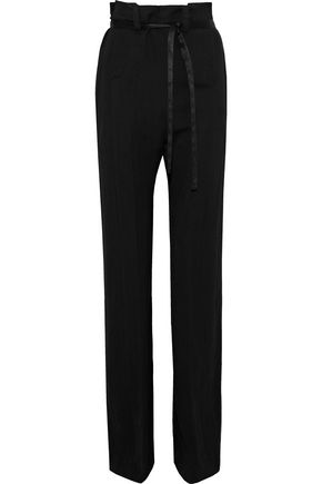 ANN DEMEULEMEESTER Satin-trimmed wool-blend twill straight-leg pants
