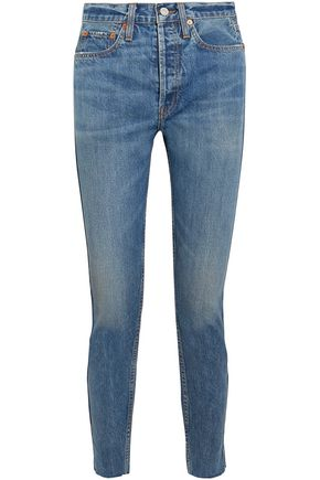 RE/DONE Cropped faded high-rise slim-leg jeans