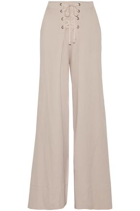 ULLA JOHNSON Rix lace-up pleated twill wide-leg pants