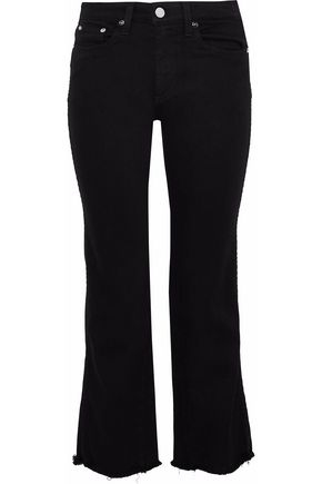 AO.LA by ALICE + OLIVIA Perfect frayed high-rise kick-flare jeans