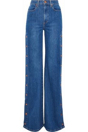 AO.LA by ALICE + OLIVIA Gorgeous snap-detailed high-rise wide-leg jeans