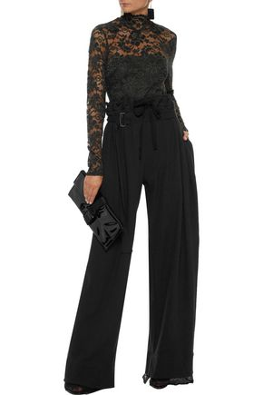 ANN DEMEULEMEESTER Lace-trimmed ribbed cotton wide-leg pants