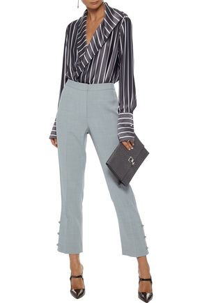 JASON WU Cropped button-detailed crepe straight-leg pants