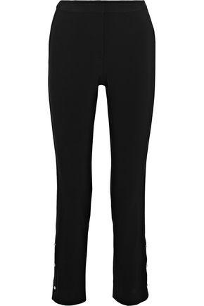 JASON WU Cropped button-detailed stretch-cady slim-leg pants