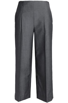 CHALAYAN Cropped wool and mohair-blend wide-leg pants
