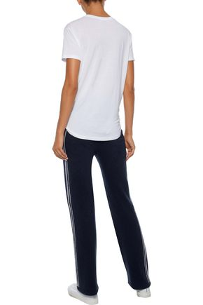 IRIS & INK Claire striped cashmere and wool-blend track pants