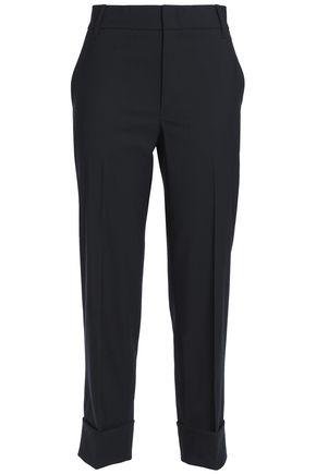 VINCE. Cropped stretch-wool crepe slim-leg pants