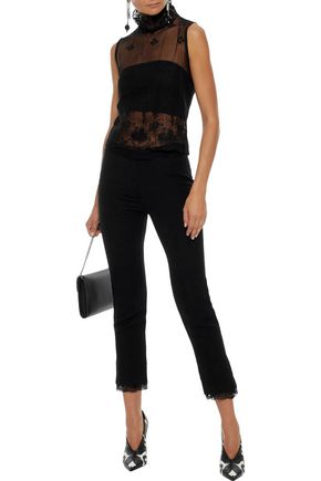 ANN DEMEULEMEESTER Cropped lace-trimmed wool-blend twill slim-leg pants
