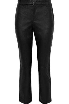 VINCE. Cropped leather slim-leg pants